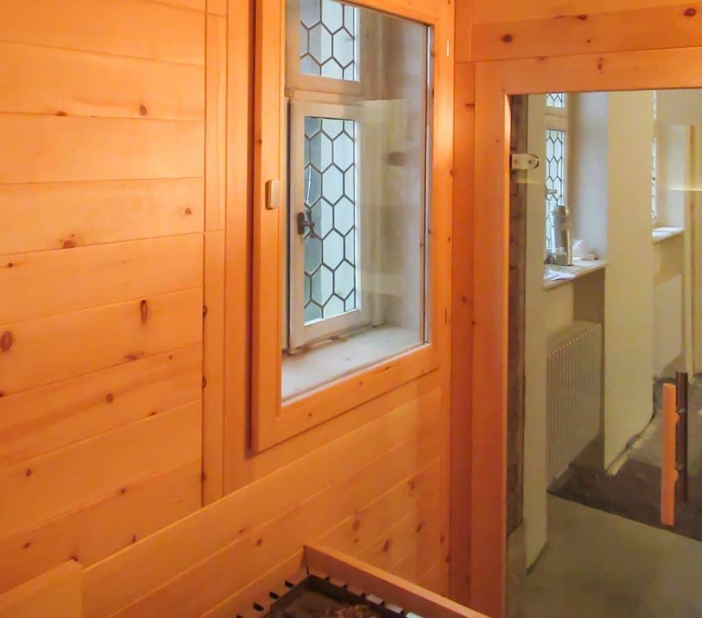 Bleiglas Fenster in Sauna